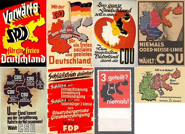 Wahlplakate der Parteien Anfang der 1950er-Jahre mit den Forderungen nach Rückgabe der Heimat
