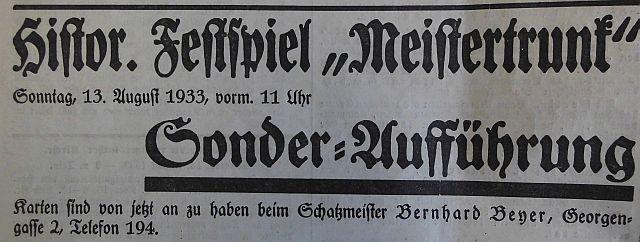 """Inserat im """"Fränkischen Anzeiger"""" vom 12. August 1933"""