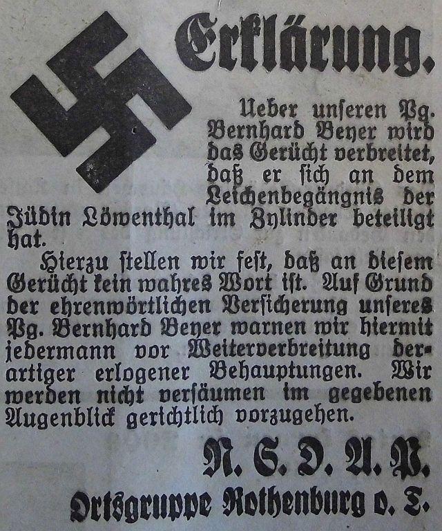Die NSDAP widerruft für den Pg. Beyer (Vorstandsmitglied des Festspiels) ein Gerücht (8. Aug. 1933)