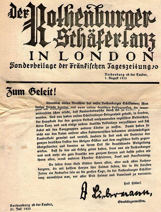 """Sonderdruck des """"Fränkischen Anzeigers"""" über die England-Fahrt 1935"""