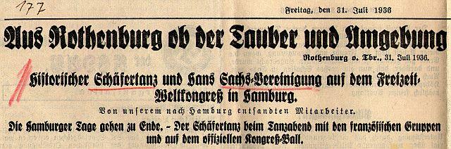 Bericht über die Rückkehr der Schäfertänzer und Hans-Sachser aus Hamburg 1936