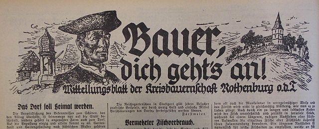 """Sonderseite im """"Fränkischen Anzeiger"""" über den Bauernstand 1933"""