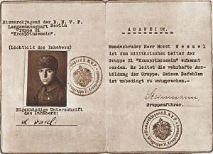 Wessels Mitgliedsausweis in der Bismarck-Jugend