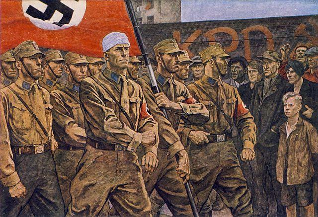 Gemalte NS-Propganda-Postkarte: Kampf der SA gegen die Kommunisten