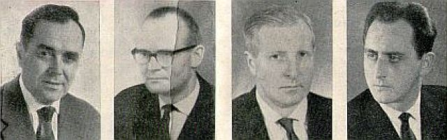 Johann Kreutzer, Hermann Pehl, Wilhelm Knausenberger, Friedrich Reichel (v. l.)