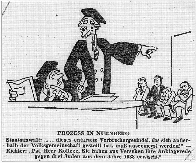 """Karikatur zum Prozess gegen den Nürnberger Polizeipräsidenten in der """"Frankenpost"""" vom 31. März 1949"""