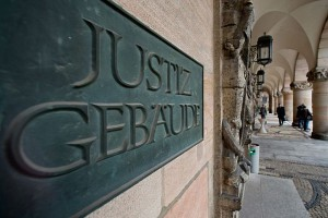 Eingangsbereich des Nürnberger Justizpalastes  heute
