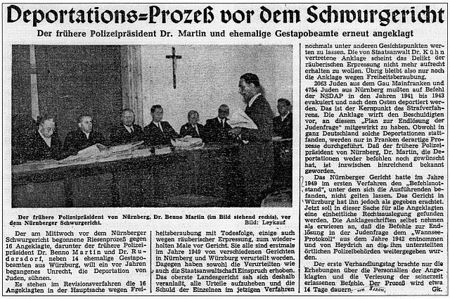 Prozess gegen Dr. Benno Martin vor dem Schwurgericht Nürnberg; Nordbayerische Zeitung vom 17. Mai 1951