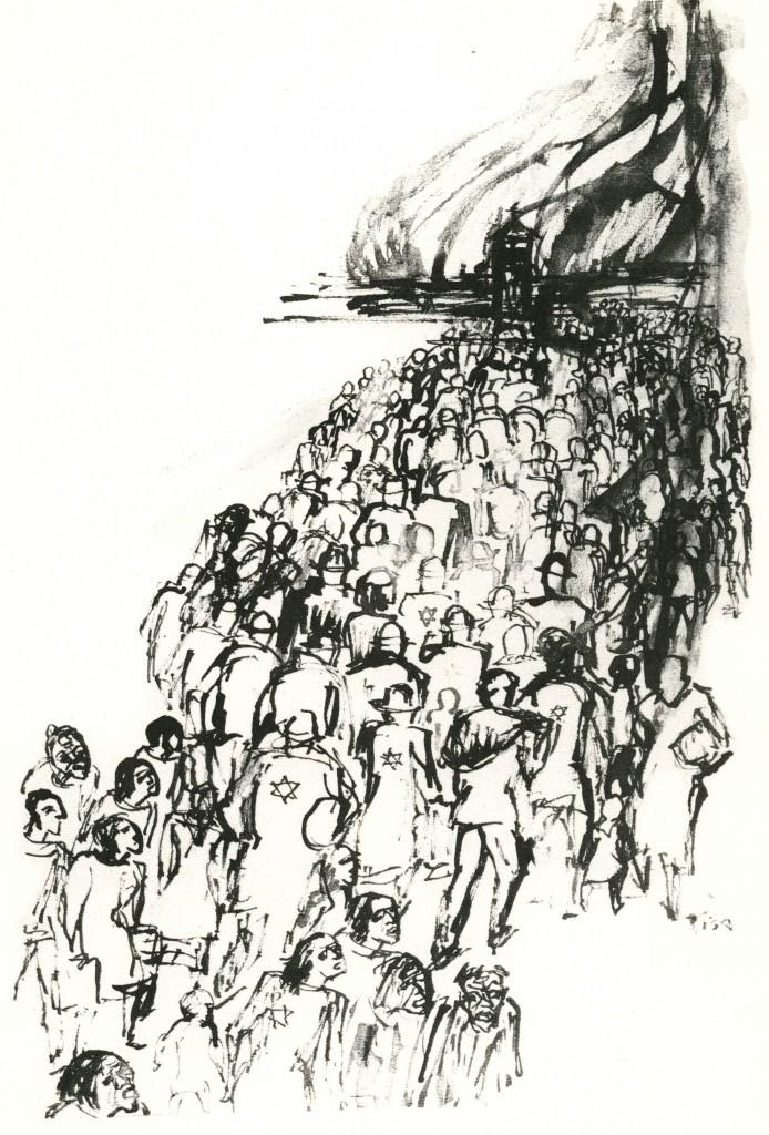 Deportation ins Gas; Tuschezeichnung von Tisa von der Schulenburg (privat)