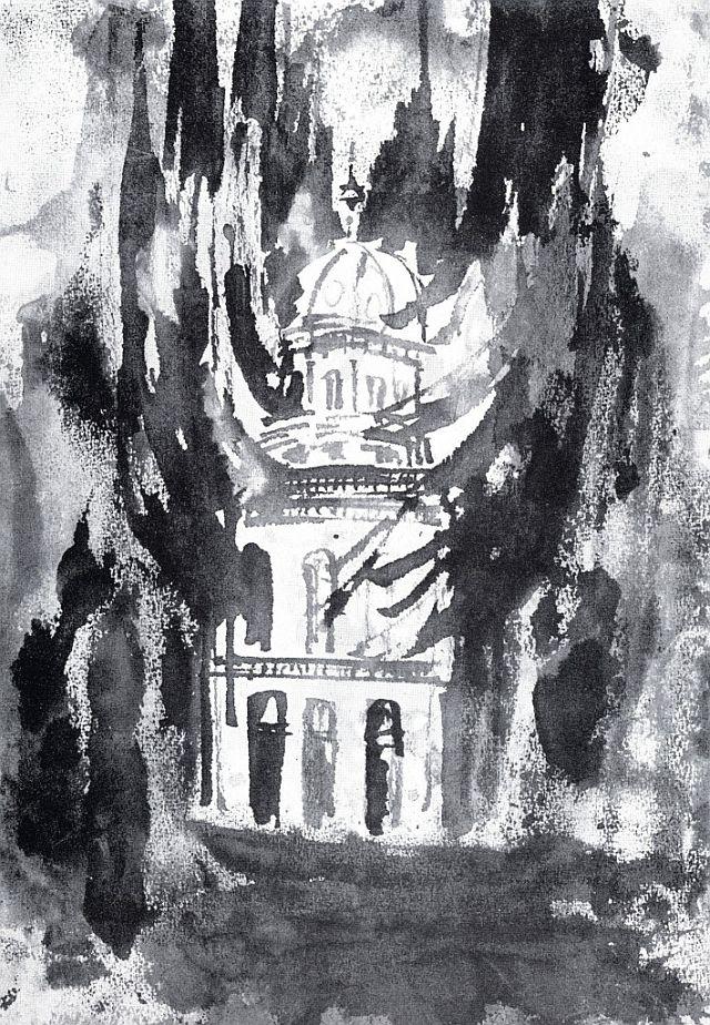 Brennende Synagoge, Tuschezeichnung von Tisa von der Schulenburg (privat)